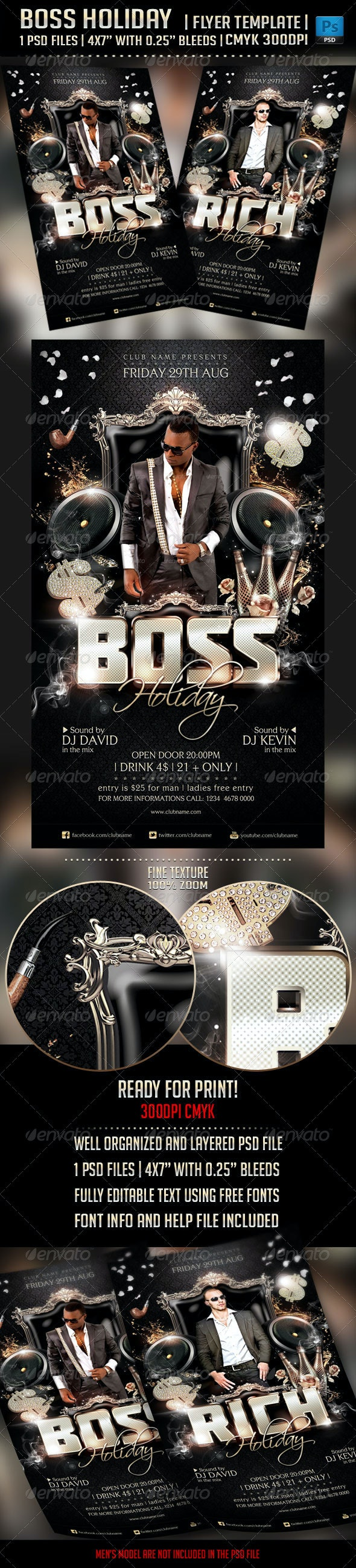 Boss Holiday Flyer Template - Clubs & Parties Events