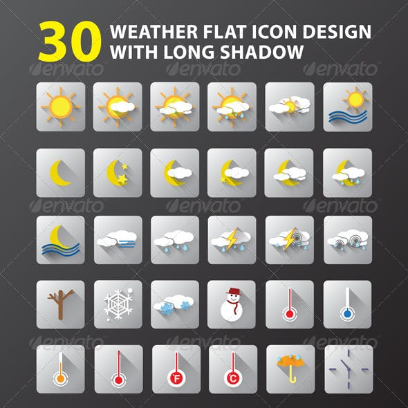 Download 30 Weather Flat Icon Design