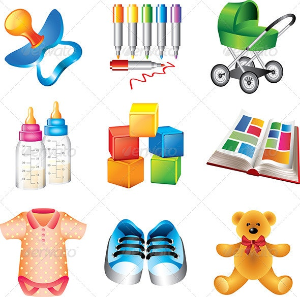 Baby Toys and Things Icons Set