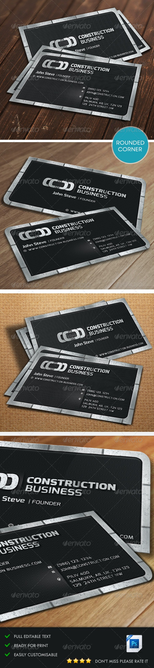 Construction Metalic Business Card - Corporate Business Cards