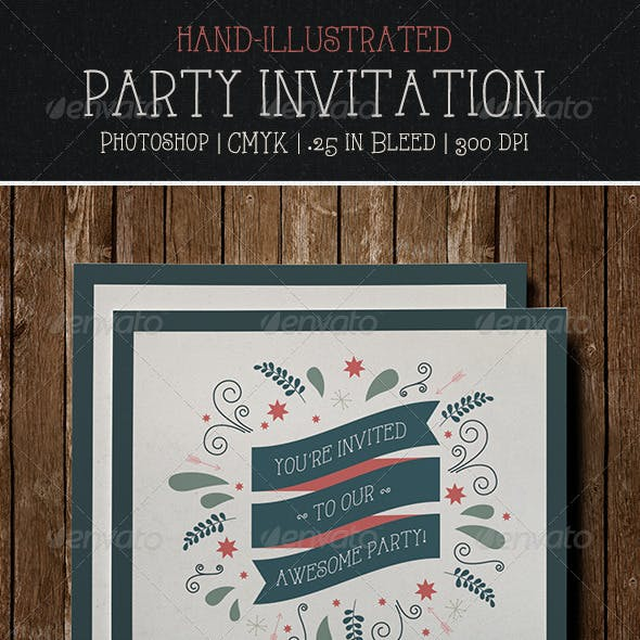 Party Invitation Flyer | Postcard