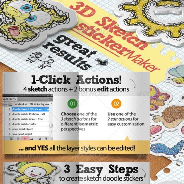 Sketch Doodle Sticker Photoshop Action