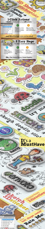 Sketch Doodle Sticker Photoshop Action - Utilities Actions