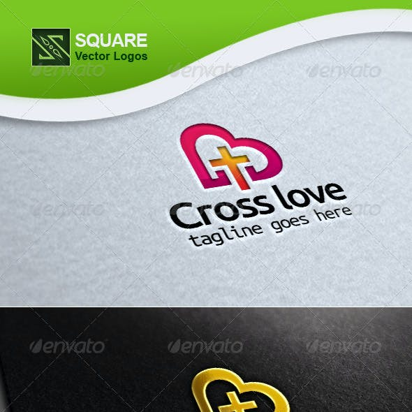 Cross, Love Vector Logo Template
