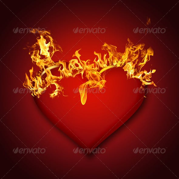 Transparent Heart with Flames on Red Background