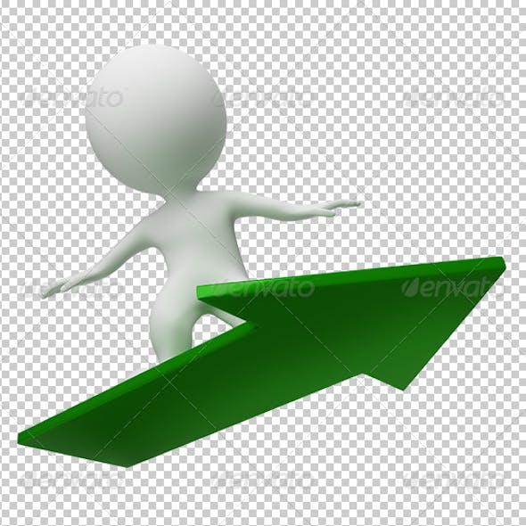 3d small people - flight on a arrow
