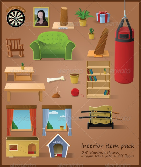 Interior Items (22 Items + Living Room) - Man-made Objects Objects