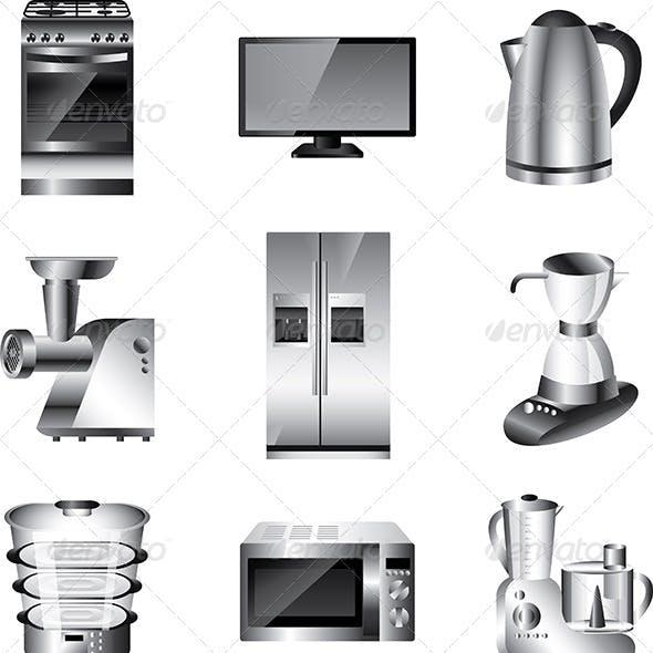Kitchen Appliances Vector Set