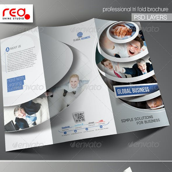 Global Business Trifold Brochure Template 01