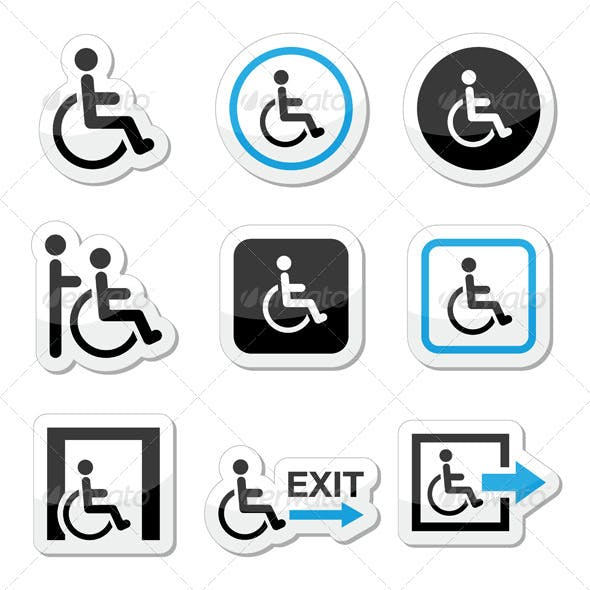 Man on Wheelchair, Disabled, Emergency Exit Icons