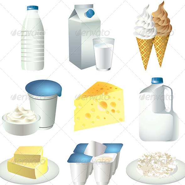 Milk and Dairy Products Vector Set