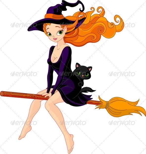 Witch riding a broom - Halloween Seasons/Holidays