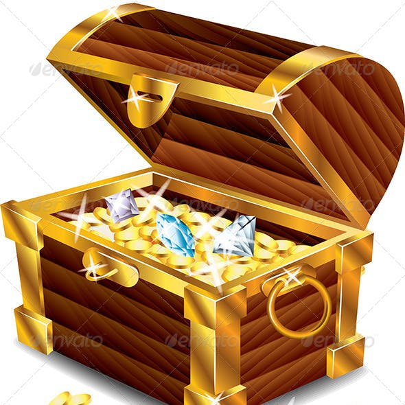 Opened Treasure Chest with Treasures