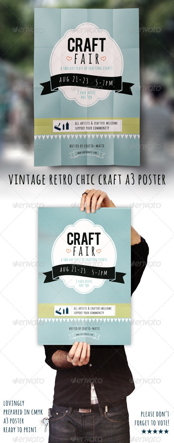 Vintage/Retro Craft Fair A3 Poster - Events Flyers