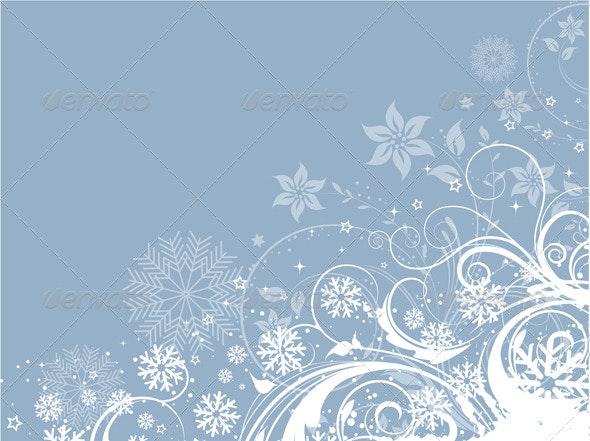 Decorative Winter Floral Background - Christmas Seasons/Holidays
