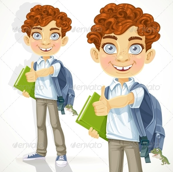 Curly Haired Boy With Books By Azuzl Graphicriver
