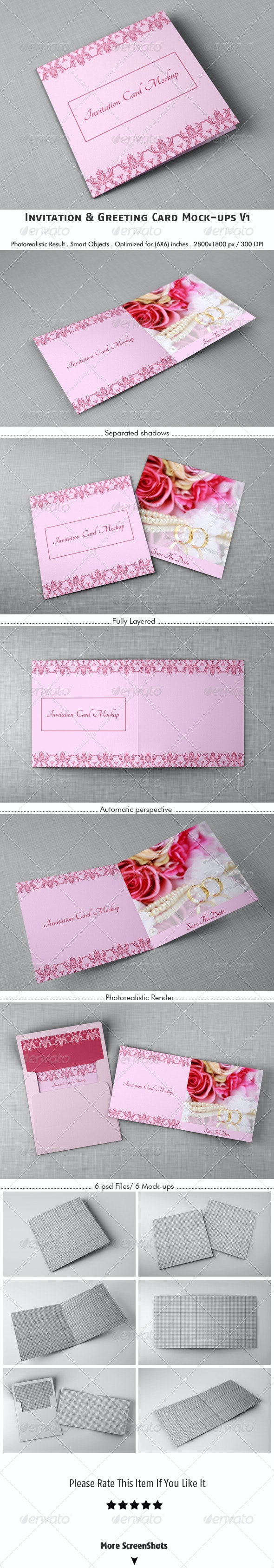 Invitation & Greeting Card Mockups V1 - Stationery Print