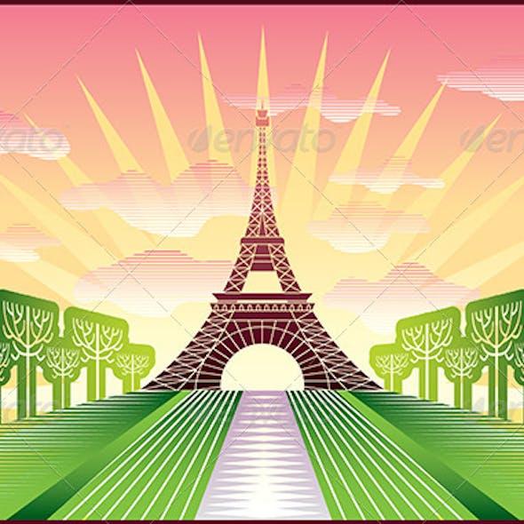 Landscape with Paris Eiffel Tower