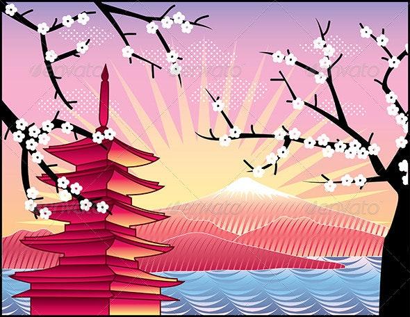 Fuji Mount, Sakura Tree and Pagoda - Landscapes Nature
