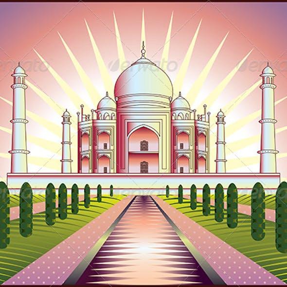 Landscape with Taj Mahal in India