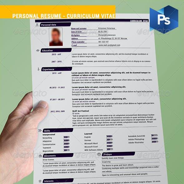 Personal Resume - Curriculum Vitae