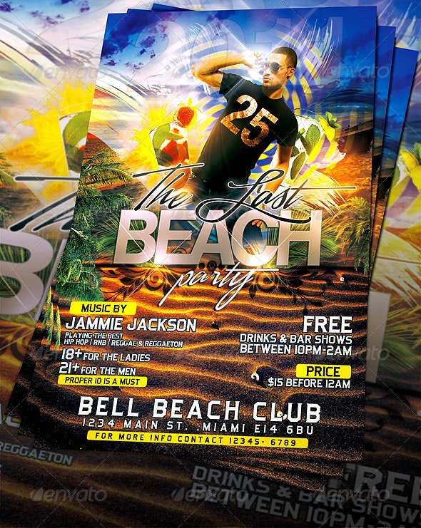 Last Beach Party Flyer Template - Clubs & Parties Events