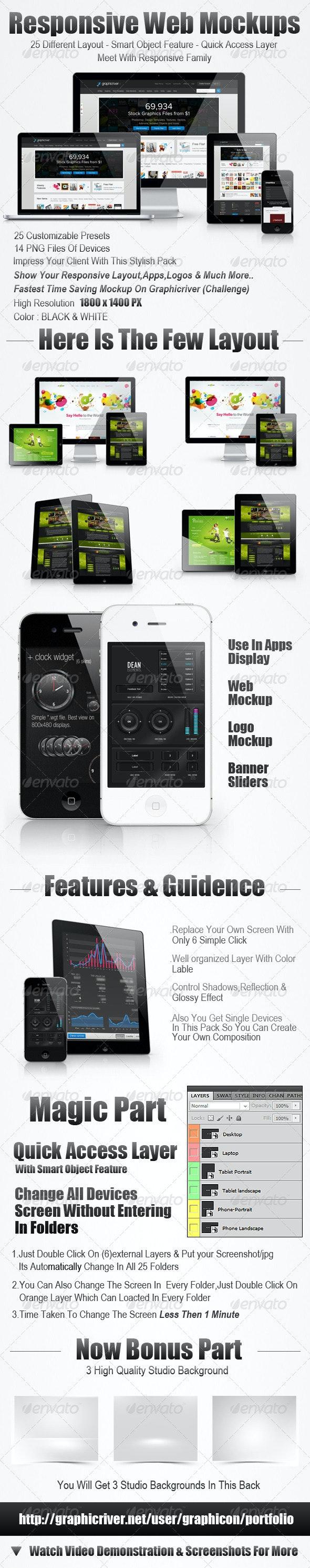 25 Ultimate Web Responsive Mockup Pack - Multiple Displays