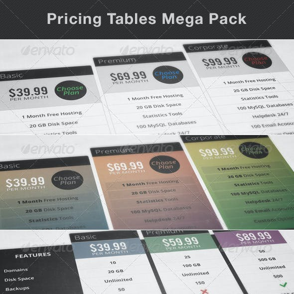 Pricing / Subscription Tables Mega Pack - 10 pcs
