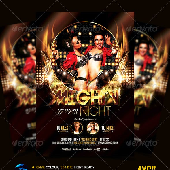 Mighty Night Flyer Template