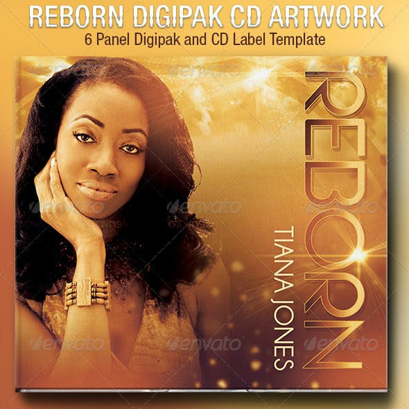 Reborn 6 Panel Digipak CD Artwork Template