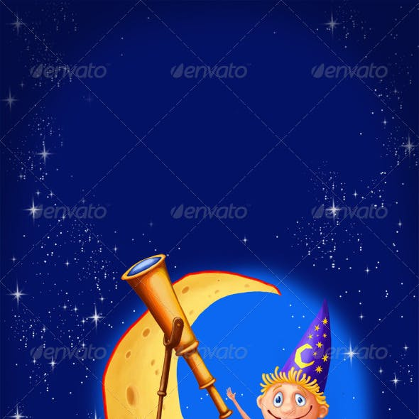 Astrologer with a telescope on the moon
