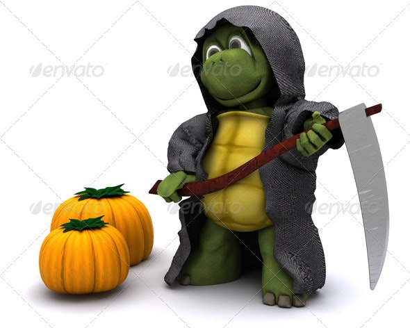 Halloween image of a Turtle reaper with pumpkins - 3D Backgrounds