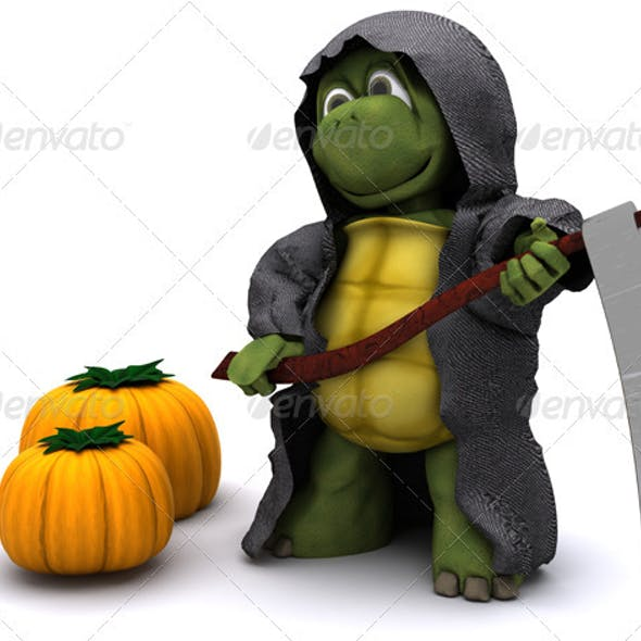 Halloween image of a Turtle reaper with pumpkins