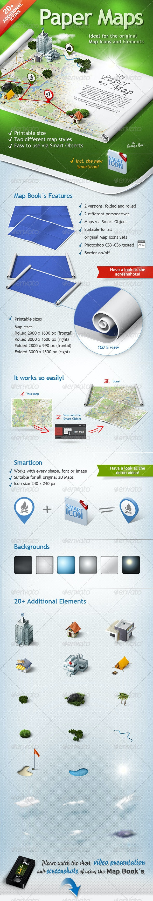 Paper Maps – The stage for your 3D Maps and Icons - Posters Print