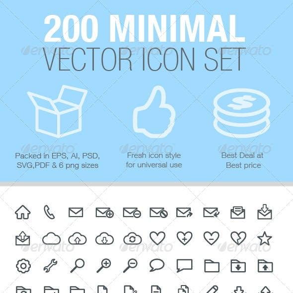 200 Minimal Vector Icon Set