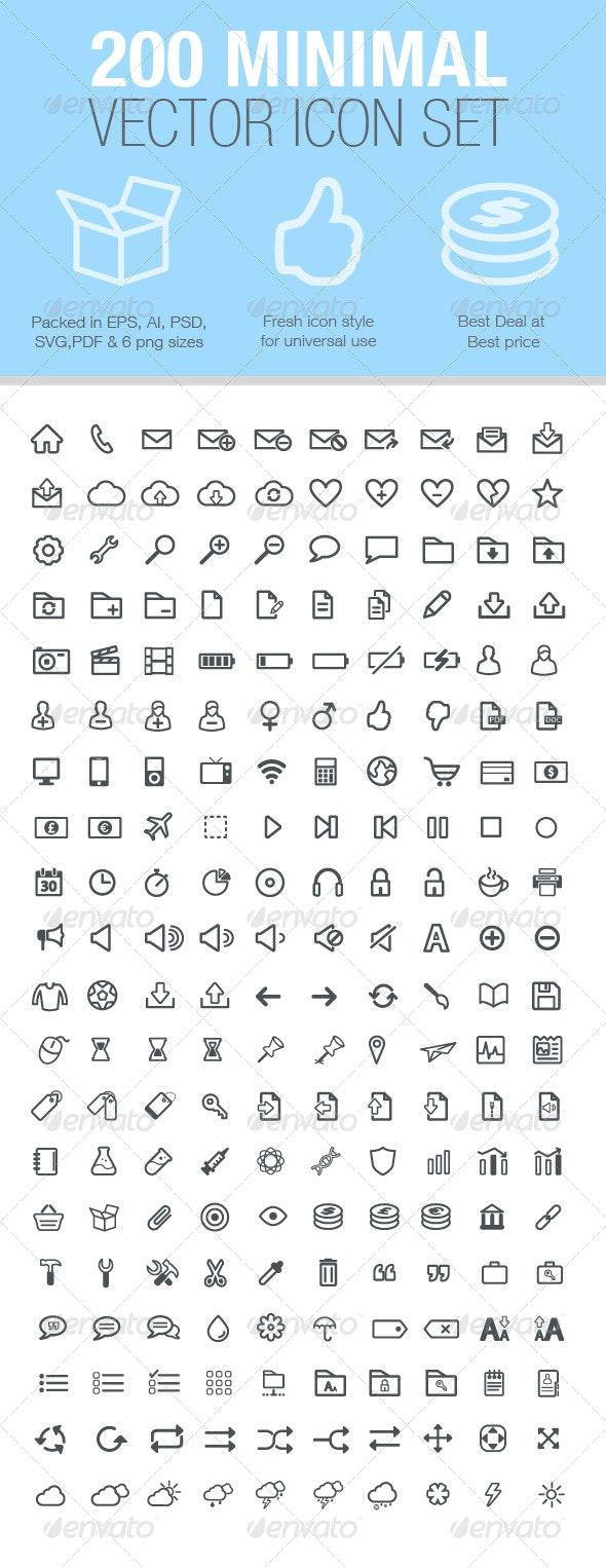 200 Minimal Vector Icon Set - Icons