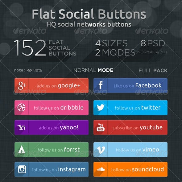 Flat Social Buttons- Social Networks Buttons