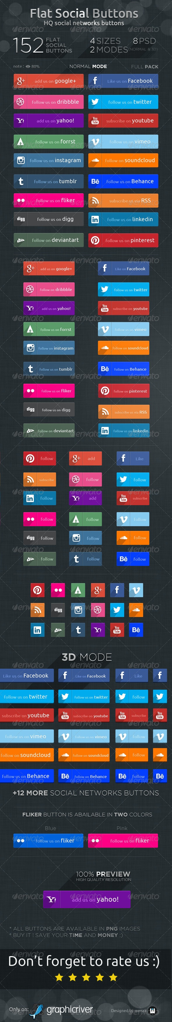 Flat Social Buttons- Social Networks Buttons - Buttons Web Elements