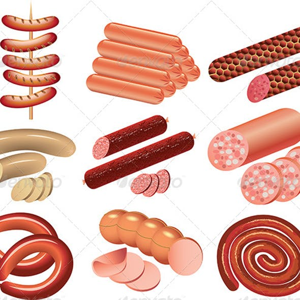 Cookout and Sausages Vector Set