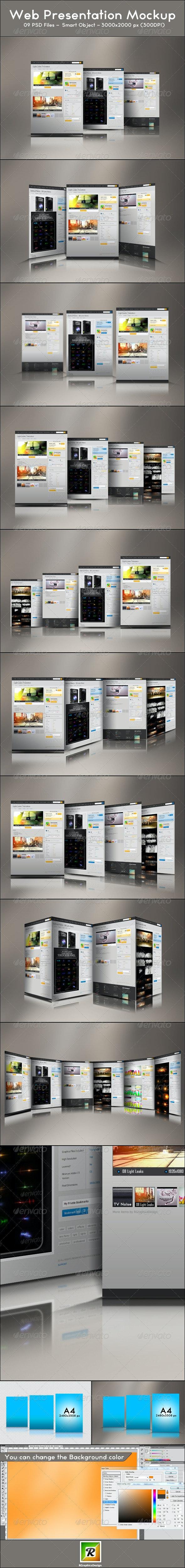 Web Presentation Mockup - Website Displays