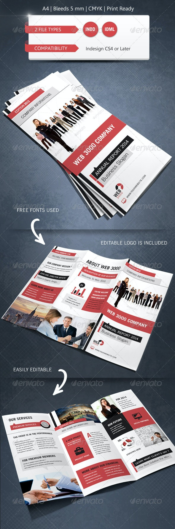 Modern & Corporate Trifold Brochure Template - Corporate Brochures