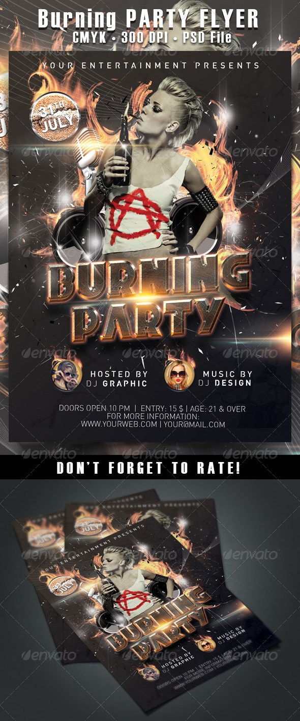 Burning Party Flyer - Clubs & Parties Events