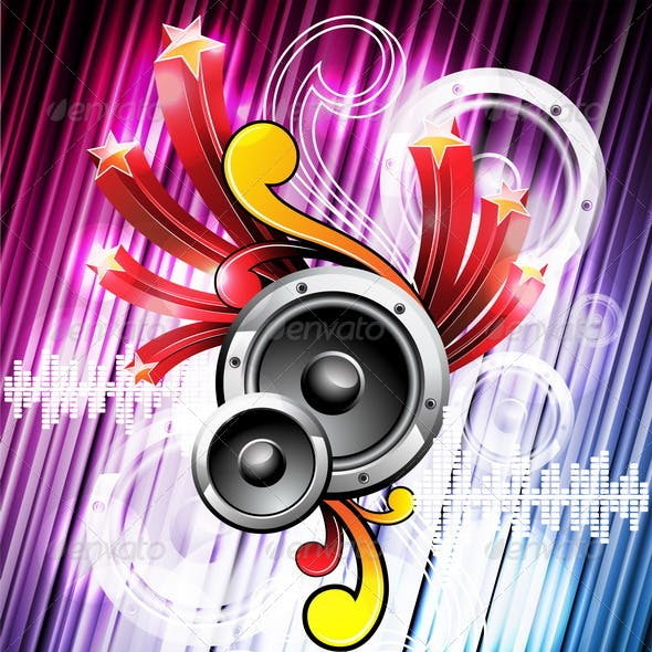 Abstract vector shiny music background design