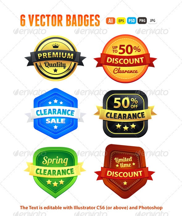 Set Of Colorful Clearance Discount Badges - Badges & Stickers Web Elements