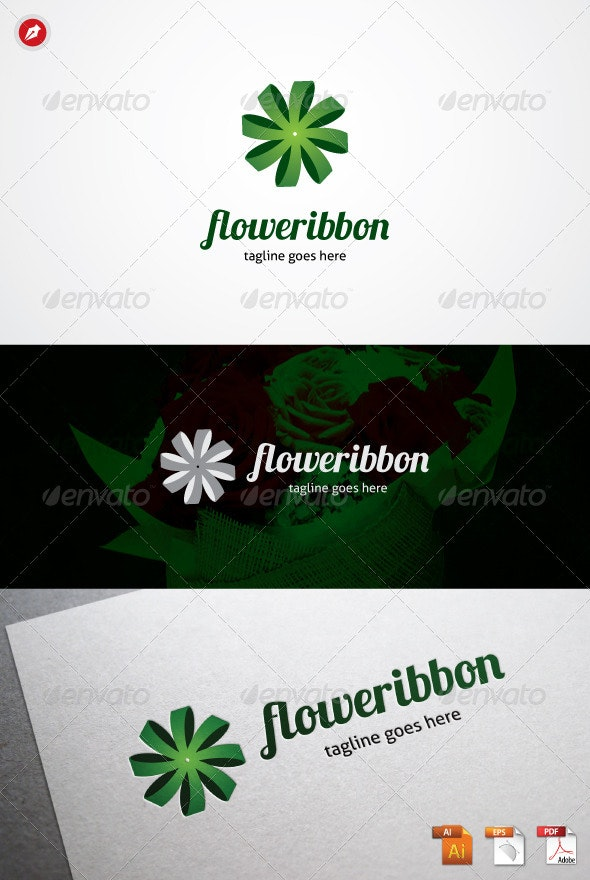 Flower Ribbon Logo - Objects Logo Templates