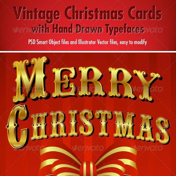 2 Vintage Christmas Cards - Hand Drawn Typefaces