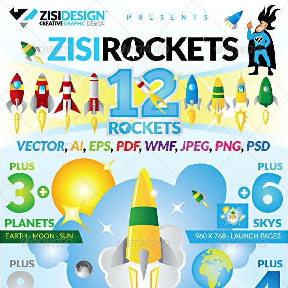 12 Rockets 3 Planets 8 Clouds 6 Sky 4 Flat UI