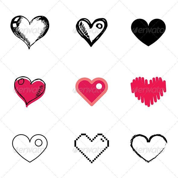 Heart Symbol Icons Set