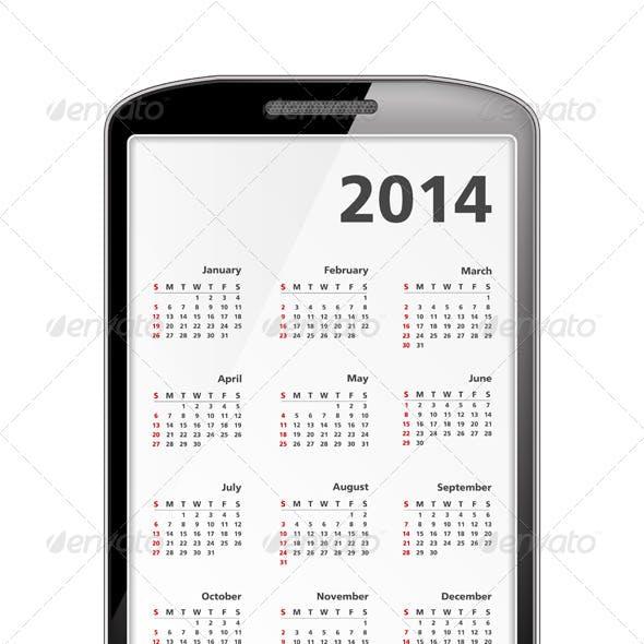 2014 Calendar in Smartphone