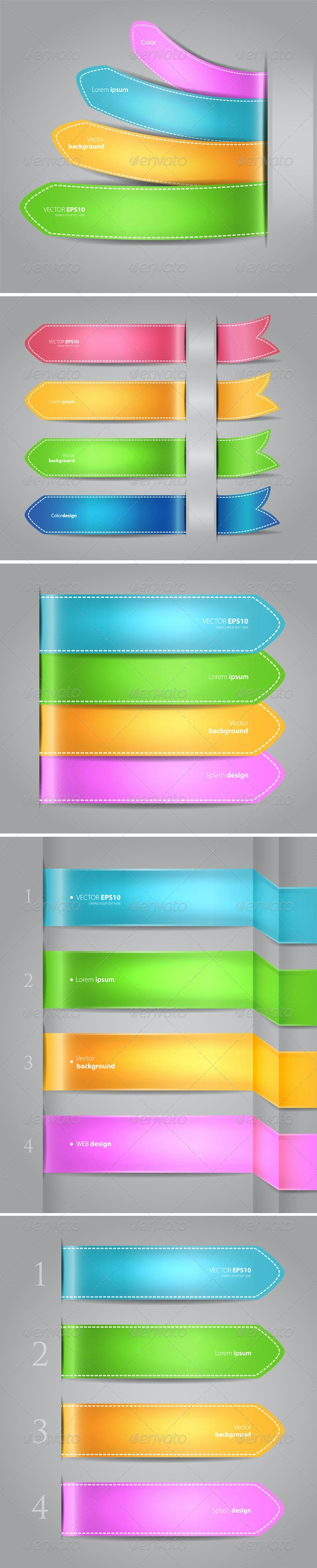 Color Origami Style Banners - Borders Decorative